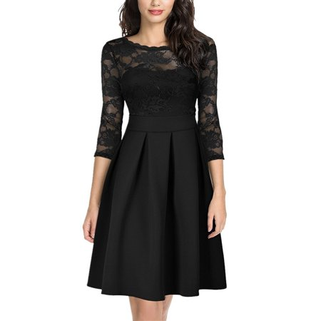 A-line Vintage Prom Dress (Women's Lace Dress Round Neck Long Sleeves O-Neck Vintage Floral Wedding Prom Cocktail A-Line Swing Midi)