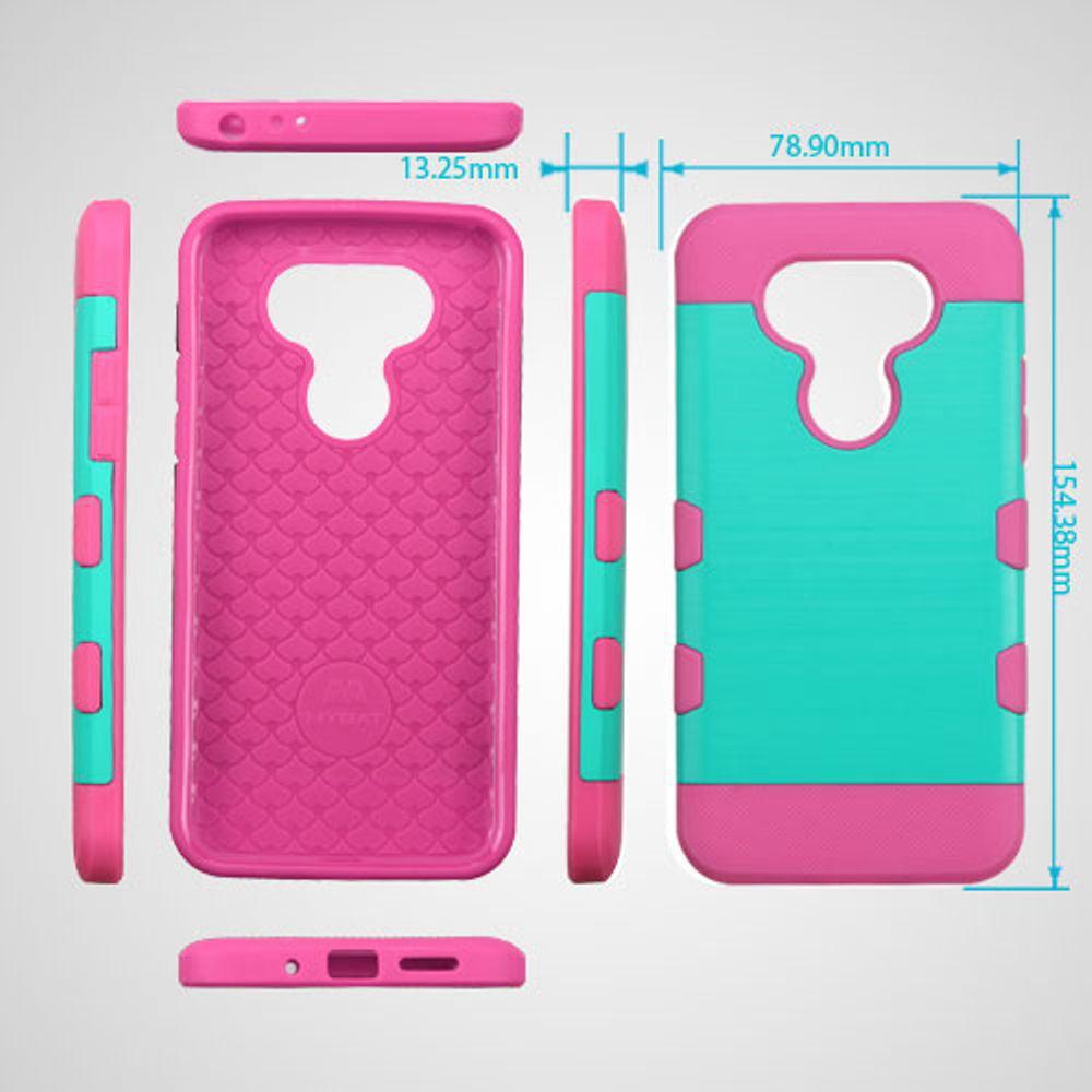 Insten TUFF Trooper Brushed Hybrid Soft Hard TPU Case For LG G5 - Teal/Hot Pink - image 2 of 3
