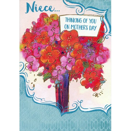 Designer Greetings Large Gold Trim Bouquet Mother's Day Card for Niece ()