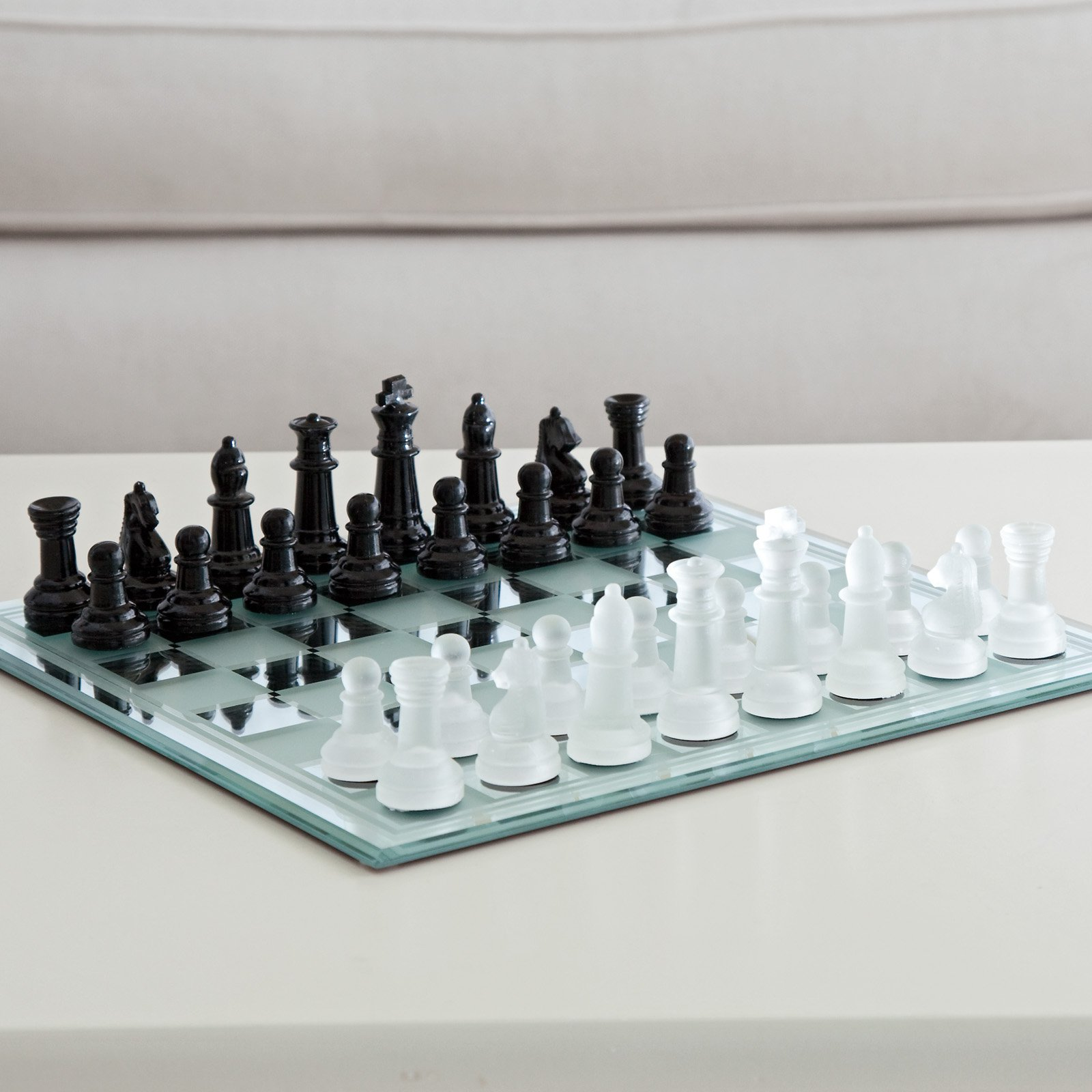 Black and White Mirror Board Chess Set by CHH Quality Products Inc.