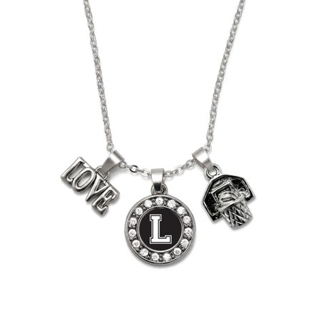 My Sports Initial Circle Charm Basketball Hoop Necklace- Letter L (Basketball Necklaces)