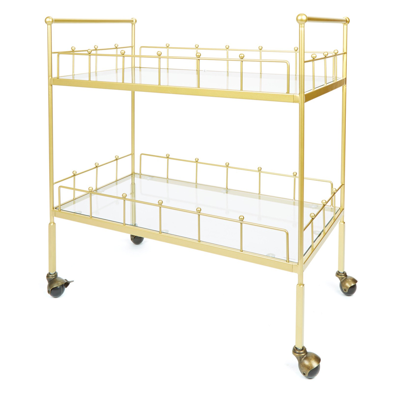 Fitz 2-Tier Rectangular Serving Cart in Gold