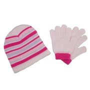 Size one size Girl's Striped Beanie Hat and Gloves Winter Set