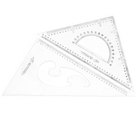 Unique BargainsSchool Plastic Drawing Tool Right Angle Triangle Ruler Combo Protractor 2 in 1