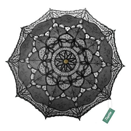 TopTie Lace Umbrella Wedding Parasol Costume Accessory Bridal Photograph-Black
