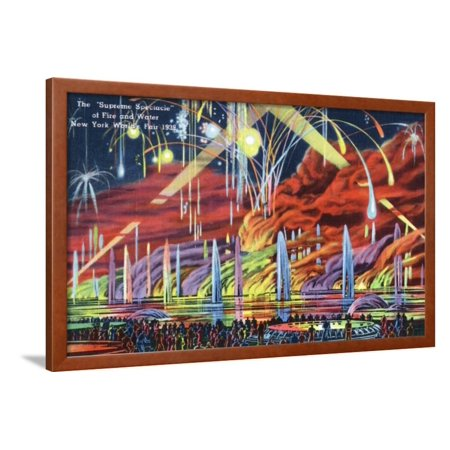 New York City, New York - Worlds Fair; Fireworks Spectacle Framed Print Wall Art By Lantern (Raymond Spectacles)