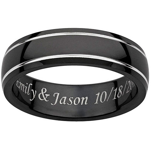 personalized s engraved black titanium grooved band
