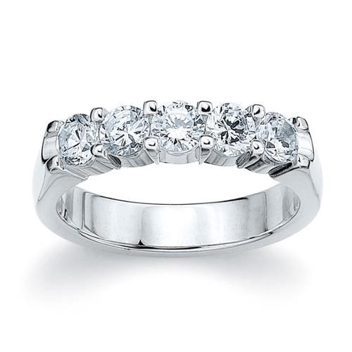 Amore Platinum 1ct TDW Five Stone Round Diamond Wedding Band (G-H, SI1-SI2) Platinum 10.5 by Overstock
