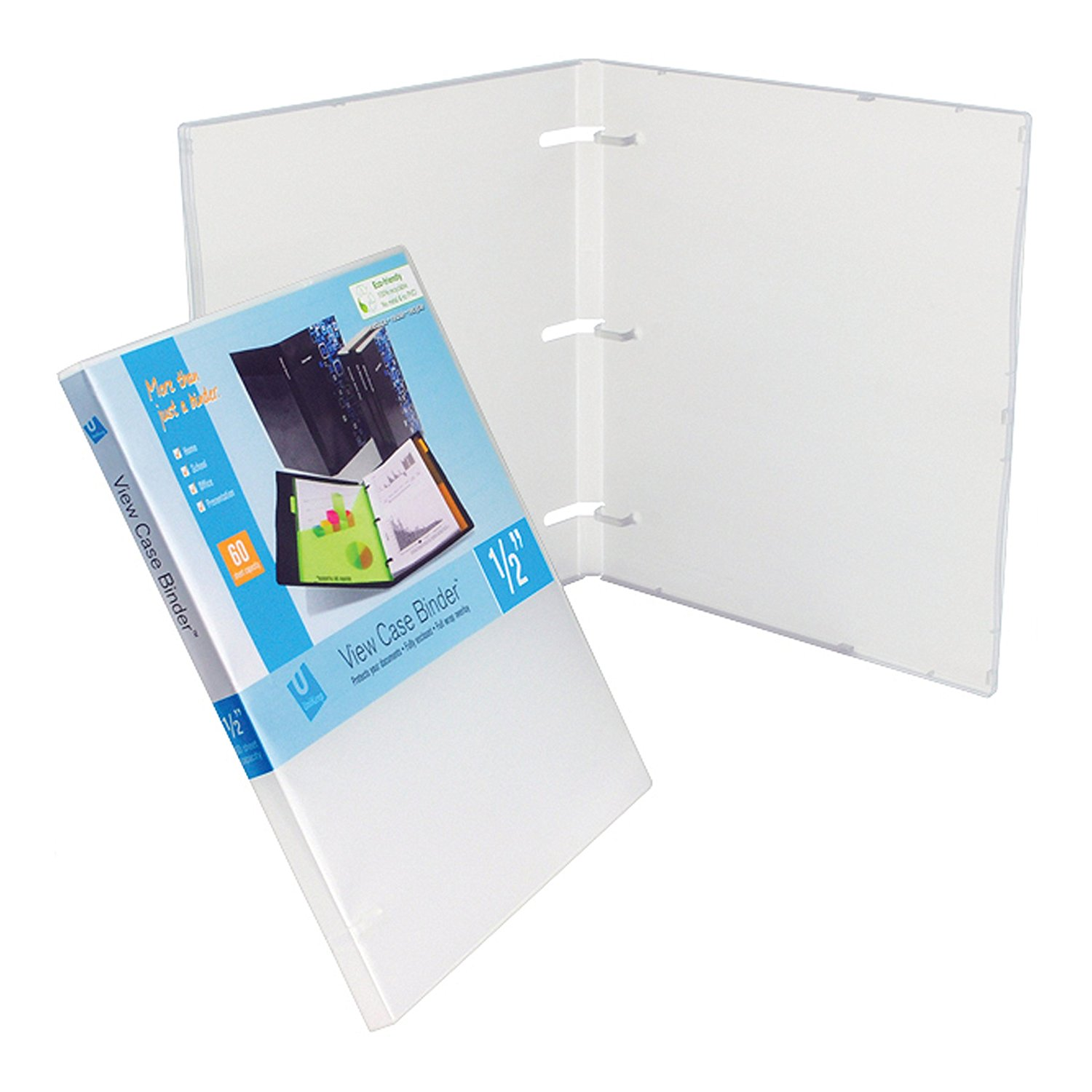 UniKeep 3 Ring Binder Clear Fully Enclosed View Binder 0.50 Inch Spine With Clear Outer Overlay Box of 36... by Unikeep