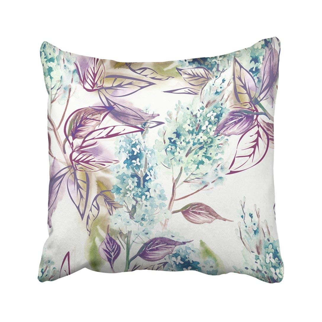 BPBOP Colorful Abstract Lilac Watercolor Green Blooming Bouquet Branch Color Contour Lines Pillowcase Pillow Cover 16x16 inches