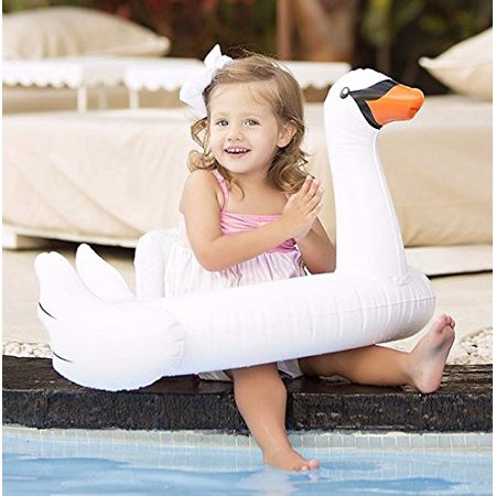 White Swan Baby Swim Ride-On Float Swimming Pool Toys Inflatable Swimming Ring for Kids