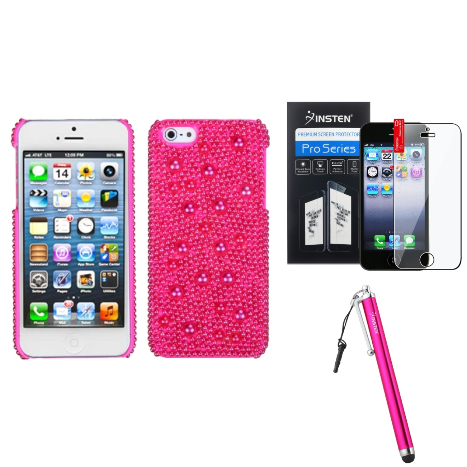 Insten Hot Pink Pearl Diamante Back Case For iPhone 5S 5   Stylus   LCD Guard