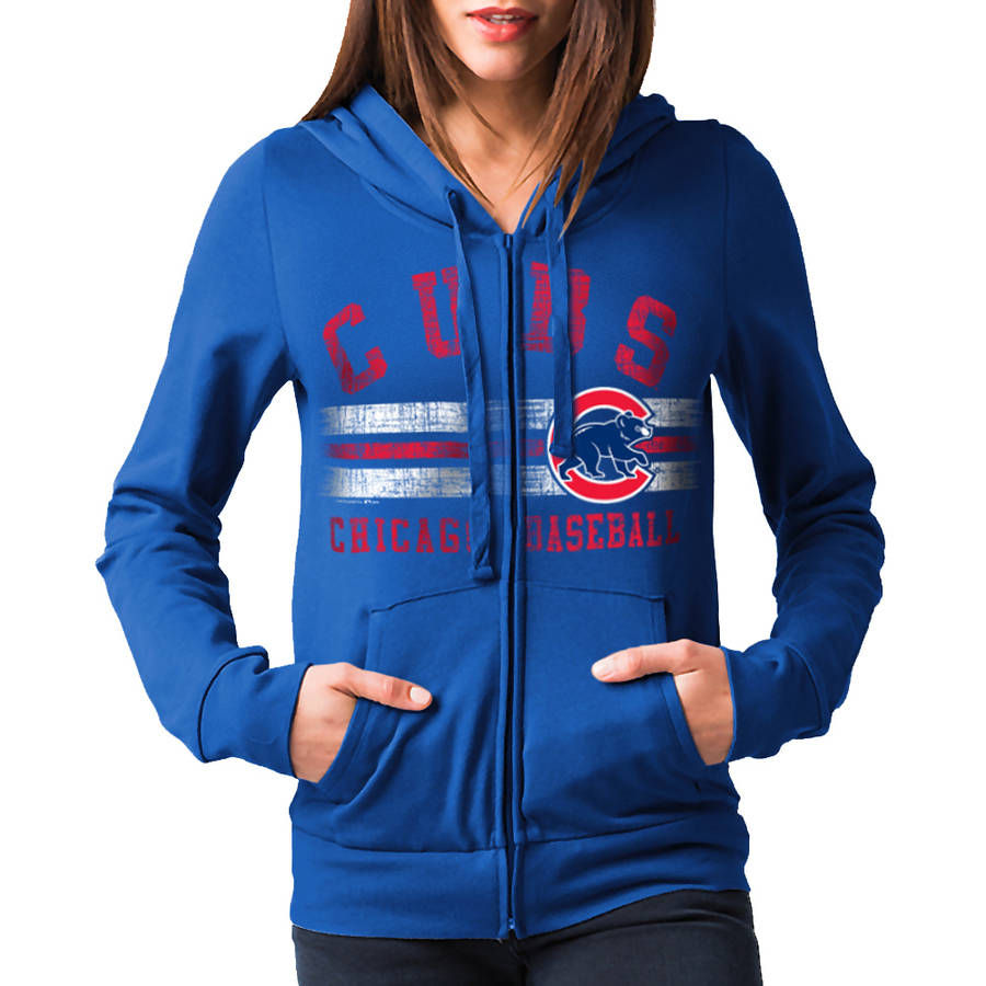 MLB Chicago Cubs Women's Fleece Zip Up Graphic Hoodie