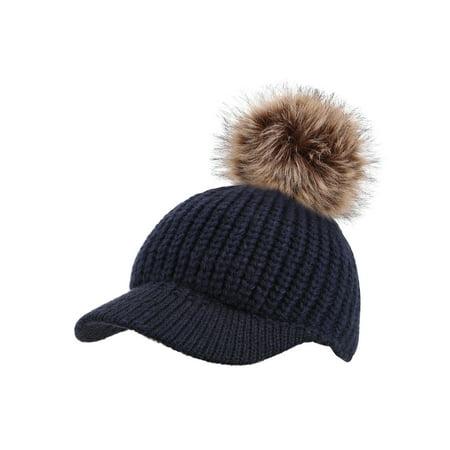 Women Winter Warm Visor Knit Crochet Beanie Cap Pom Pom Ski Hat Womens Visor Beanie