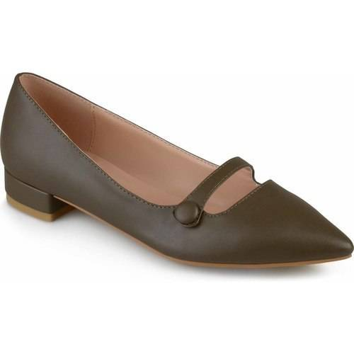 Womens Pointed Toe Faux Leather Flats
