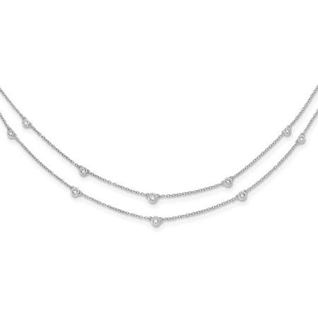 3mm 14k White Gold Diamond Multi Station Double Strand Necklace - .49 dwt