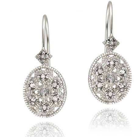Diamond Accent Sterling Silver Filigree Oval Leverback Earrings