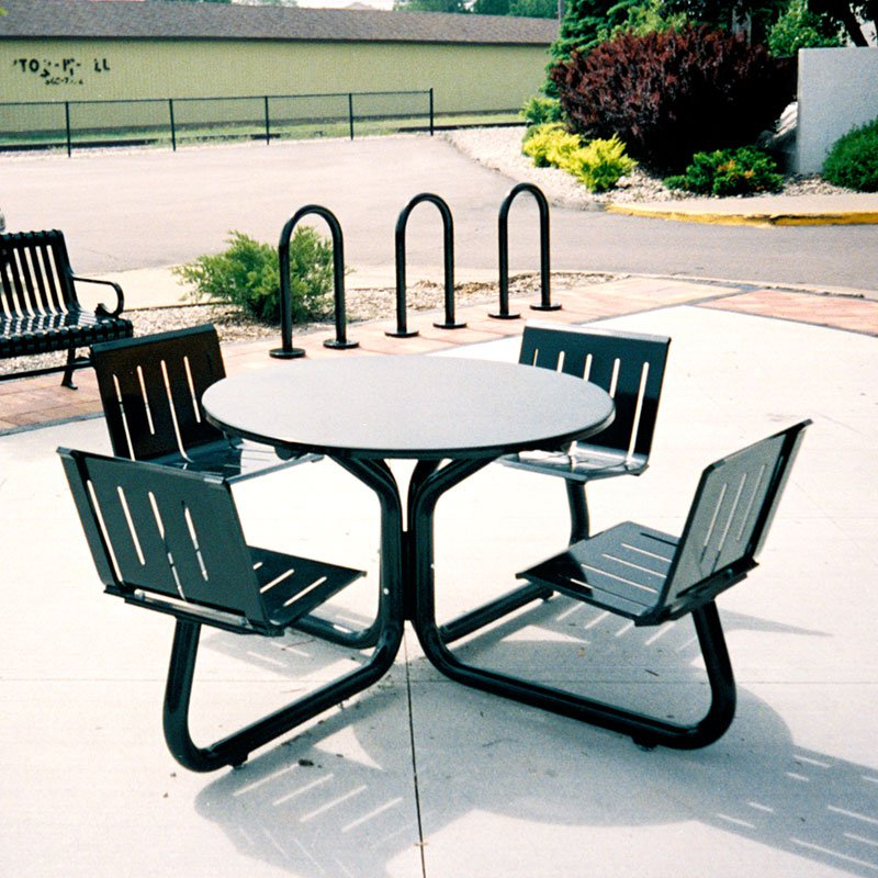 Petersen Parkhill 81 in. Round Commercial Steel Picnic Table with Attached Seats