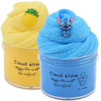2 Pack Upgrade Pineapple Blue Stitch Cloud Slime Kit, Super Soft and Non-StickyScented DIY Sludge Toy (8oz)