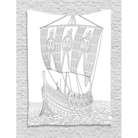 Toga Party Tapestry, Stylized Ancient Greek Galley Cruising on Swirled Waves Doodle Illustration, Wall Hanging for Bedroom Living Room Dorm Decor, Black White, by - Toga Ancient Greece