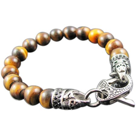 Men's Genuine Tiger's Eye Stainless Steel Bead Bracelet with Black CZ