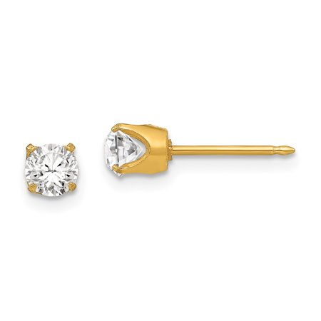 Inverness 24K Plated 5mm Austrian Crystal Stud Earrings