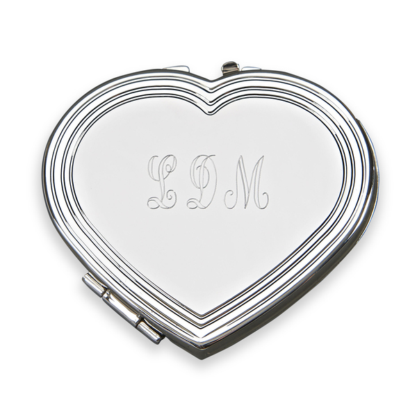 Personalized Monogrammed Silhouette Heart Compact, Nickel Plated