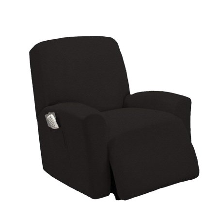 Orly'sDream One piece Stretch Recliner Chair Furniture Slipcovers with Remote Pocket Fit most Recliner Chairs (Black Slipcover)