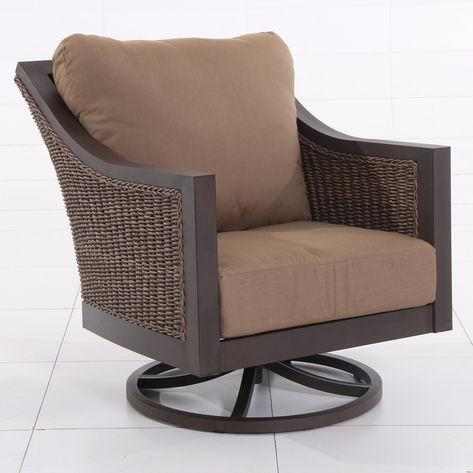 Royal Garden Biscarta Aluminum and Wicker Patio Swivel Lounge Chair with Cushions