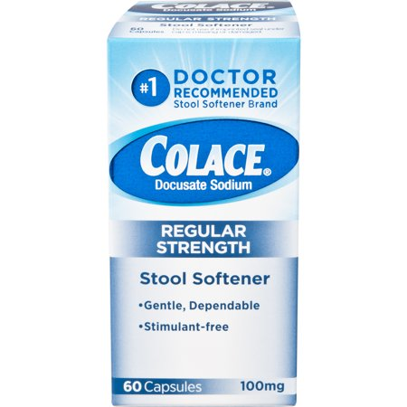 Colace Regular Strength Stool Softener, 100 mg Capsules, 60