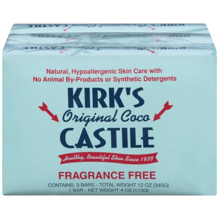 Kirk's Natural Original Coco Castile Bar Soap, Fragrance Free, 4 Oz, 3 Ct
