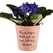 """Her Children Shall Rise Up Proverbs 31:28 Terra Cotta Flower Pot 4"""" x 3"""""""