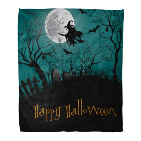 Haunted Forest Ideas For Halloween (LADDKE Flannel Throw Blanket Silhouette Black Haunted Halloween Party Forest Cartoon Castle Graveyard Soft for Bed Sofa and Couch 50x60)