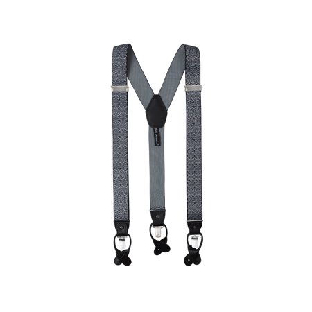 Floral Leather Suspenders - Jacob Alexander Men's Floral Y-Back Suspenders Braces Convertible Leather Ends Clips - Black White