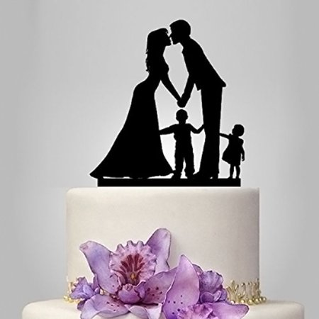 Fabricmcc Wedding Cake Topper with Little Girl & Boy Bride and Groom Silhouette Cake Decor