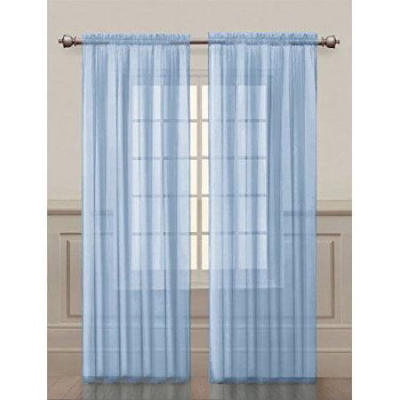 2 Pack: Basic Rod Pocket Sheer Voile Grommet Window Curtains - Baby Blue ()
