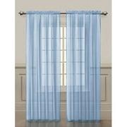 2 Pack: Basic Rod Pocket Sheer Voile Grommet Window Curtains - Baby Blue