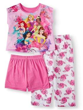 Disney Princess Toddler Girl Short Sleeve Poly Pajamas, 3Pc Set