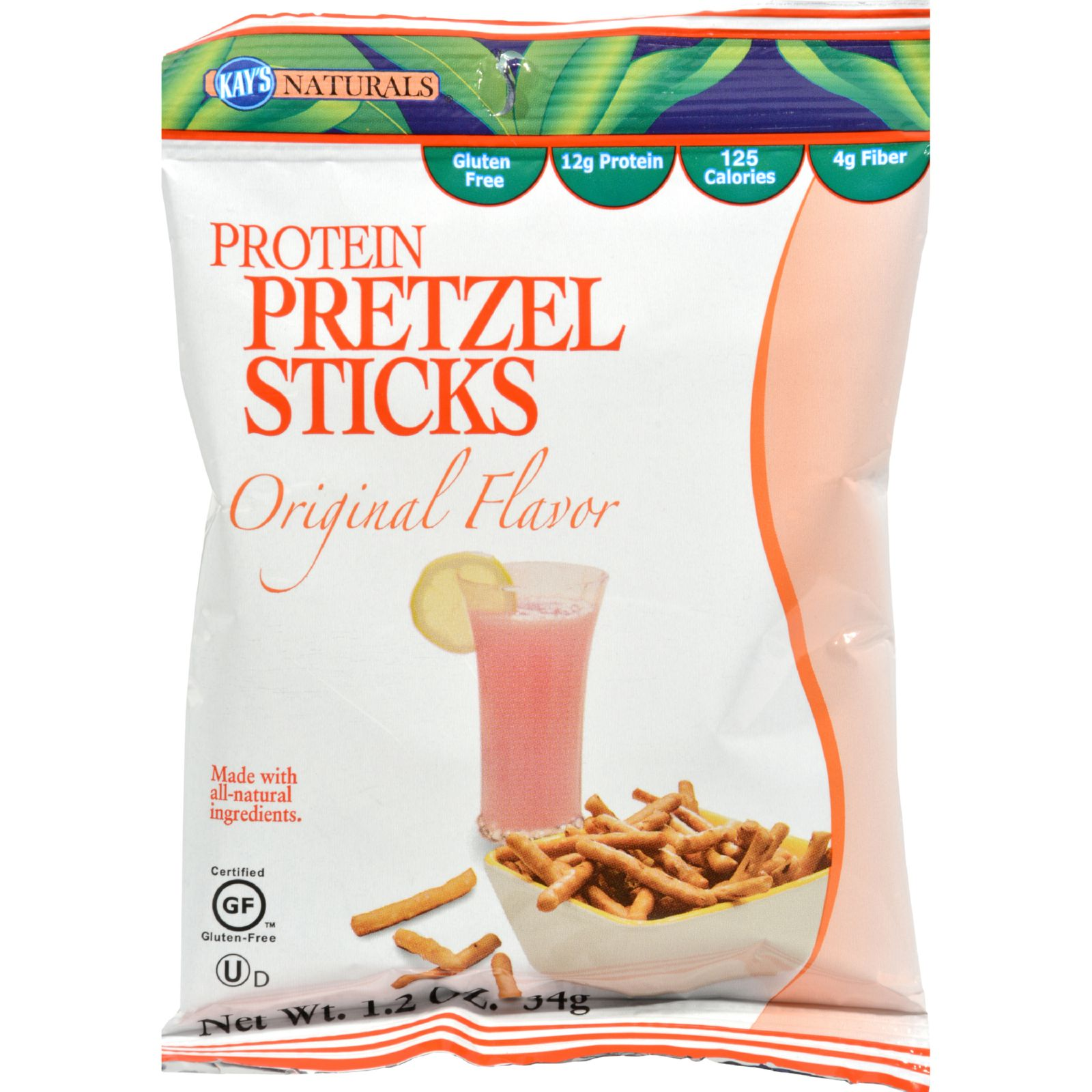 Kay's Naturals High Protein Pretzel Sticks, Original, 1.2 Oz