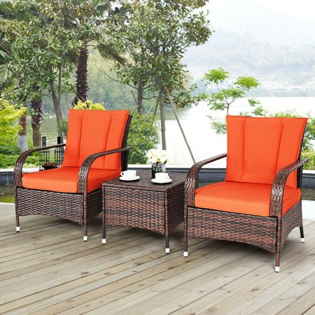 Costway 3PCS Outdoor Patio Mix Brown Rattan Wicker Furniture Set Seat with Orange Cushions ()
