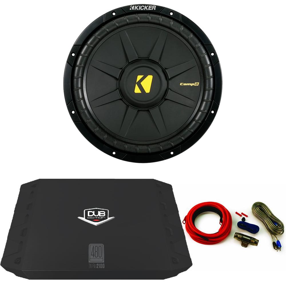 "Kicker 40CWD122 Comp 12"" Sub with 480 Watt DUB Series Amp and wire kit"