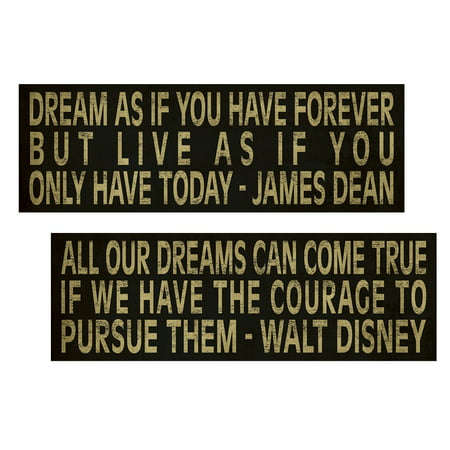 Popular Inspirational James Dean And Walt Disney Dream Quote Typography  Two 18X6in Poster Prints