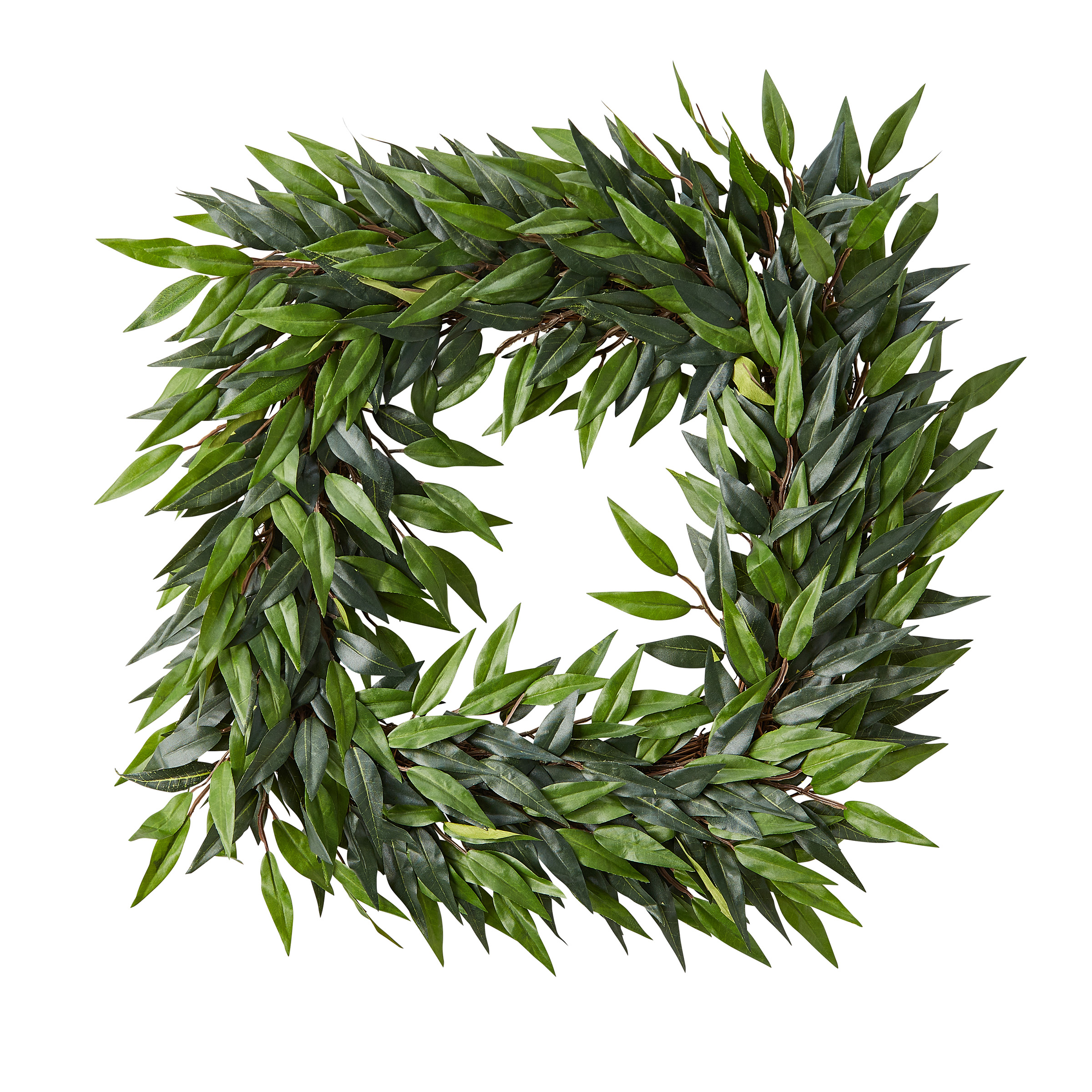 Pure Garden Square Artificial Ficus Microphylla Leaf Wreath – Indoor Lifelike Faux Greenery 22""