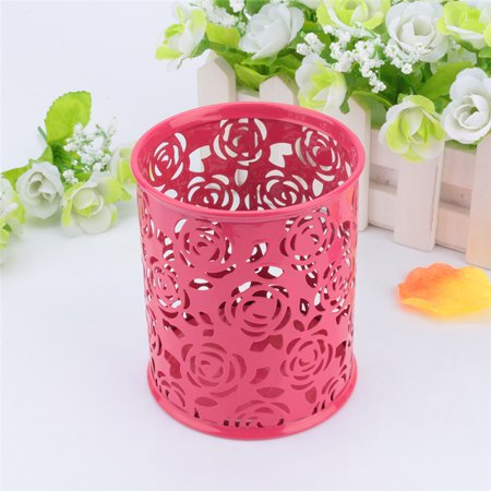Plastic Desktop Pencil - Fashionable Carved Hollow Rose Flower Pattern Cylinder Metal Pencil Pot Pen Cases Holder Box Cup for Desktop Office Red