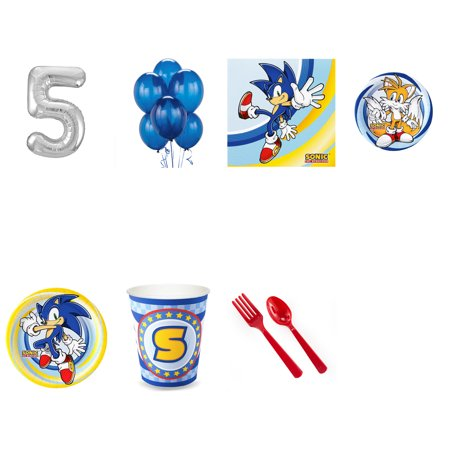 SONIC THE HEDGEHOG PARTY SUPPLIES PARTY PACK FOR 32 WITH SILVER #5 BALLOON