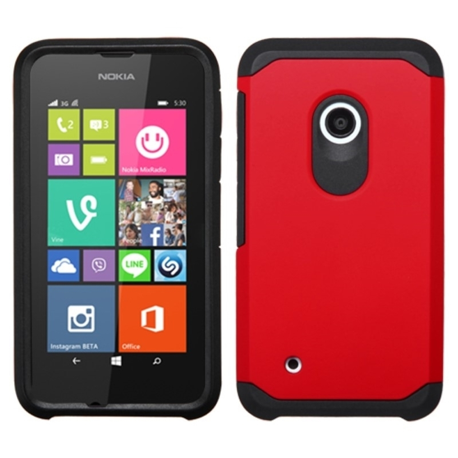 Insten For Nokia Lumia 530 Red Black Hard Silicone Hybrid Shockproof Rubberized Case Cover Back Shell Skin