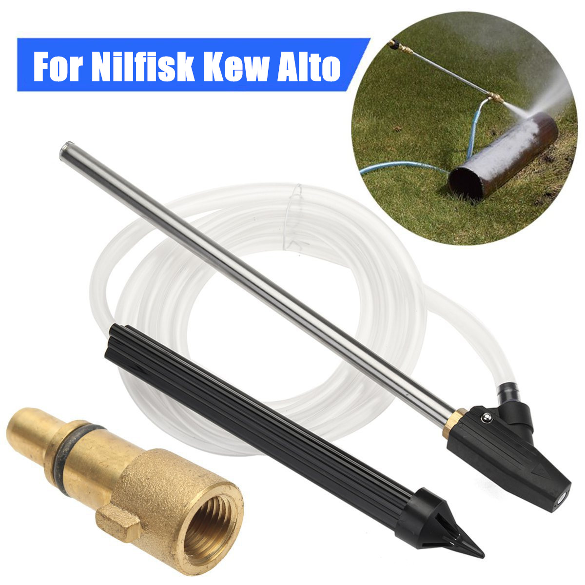 Pressure Washer Gun Lance Sand & Wet Blasting Nozzle Kit For Nilfisk Kew Alto
