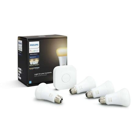 Philips Hue White Ambiance A19 Smart Light Starter Kit, 60W LED,