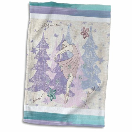 Royal Blue And Pink (3dRose Ballerina Dancing with Snowflakes and Trees, Pink, Purple, Blue - Towel, 15 by)