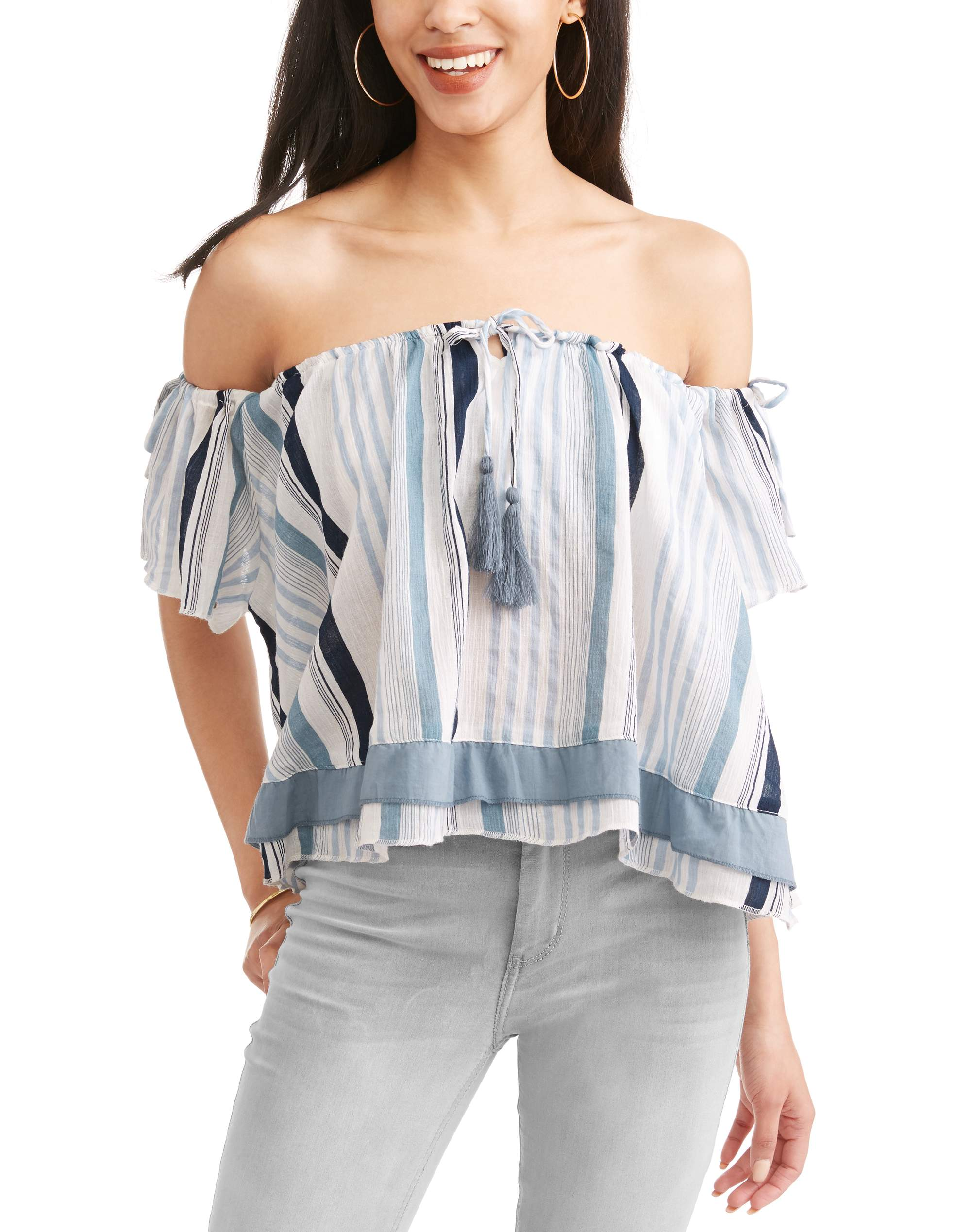 Thyme and Honey Women's Vertical Striped On and Off the Shoulder Top with Built in Bandeau
